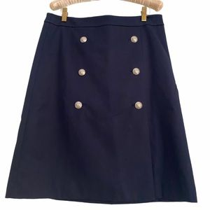 Talbots Navy Cotton Twill Skirt Gold Buttons 4